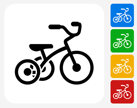Tricycle Icon Flat Graphic Design Stock Illustration