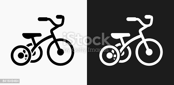 Tricycle Icon on Black and White Vector Backgrounds. This vector illustration includes two variations of the icon one in black on a light background on the left and another version in white on a dark background positioned on the right. The vector icon is simple yet elegant and can be used in a variety of ways including website or mobile application icon. This royalty free image is 100% vector based and all design elements can be scaled to any size.