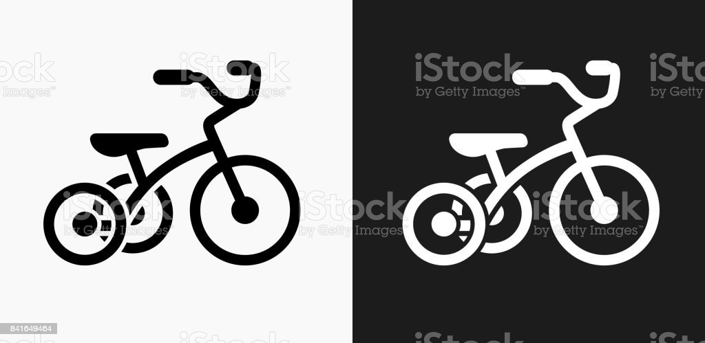 Tricycle Icon on Black and White Vector Backgrounds vector art illustration