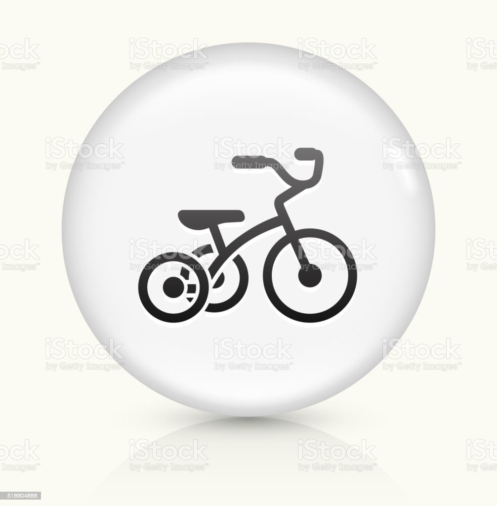 Tricycle icon on white round vector button vector art illustration