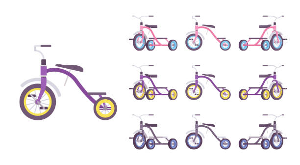 Tricycle kid bike set Tricycle kid bike set. First vehicle for young riders, small three-wheeled bicycle, sport equipment. Vector flat style cartoon illustration isolated on white background, different views and colors three wheel motorcycle stock illustrations