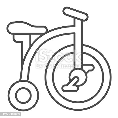 Tricycle thin line icon, childhood concept, Kid bicycle sign on white background, Baby Bike icon in outline style for mobile concept and web design. Vector graphics