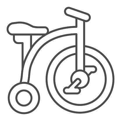 Tricycle thin line icon, childhood concept, Kid bicycle sign on white background, Baby Bike icon in outline style for mobile concept and web design. Vector graphics.