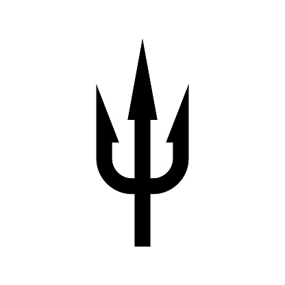 Trident black silhouette. Sea Neptunus weapon image.