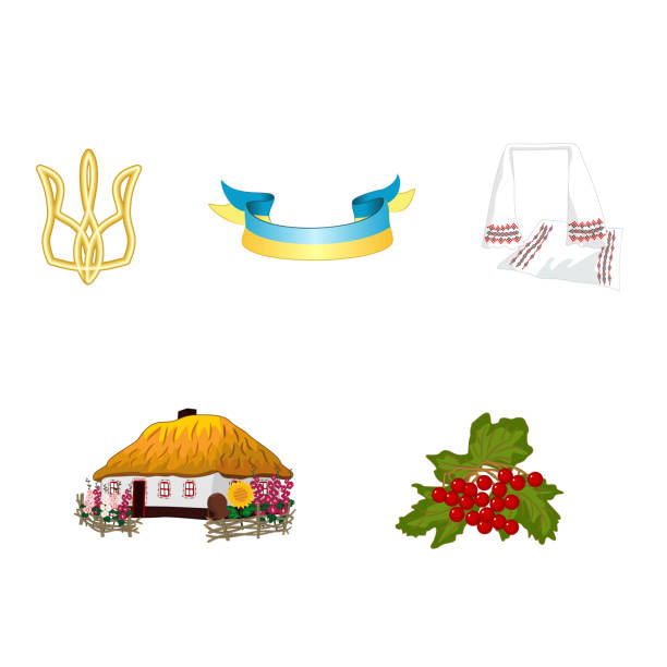Trident, flag, embroidered rushnyk, traditional house and viburnum - vector set of symbols of Ukraine vector art illustration