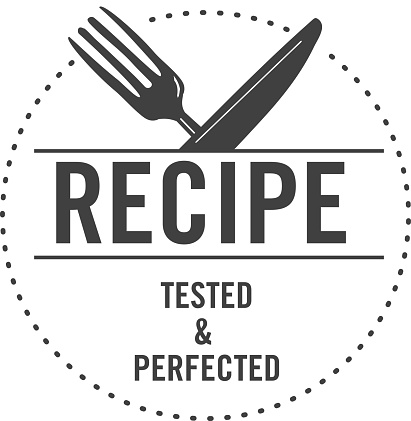 Tried and Tested Recipe Approved Label design with text for Test Kitchen or blog recipes
