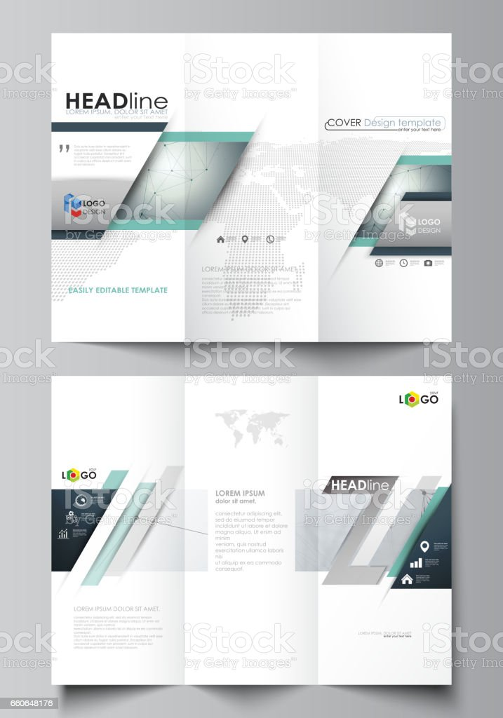 Trifold Brochure Business Templates On Both Sides Abstract Vector ...