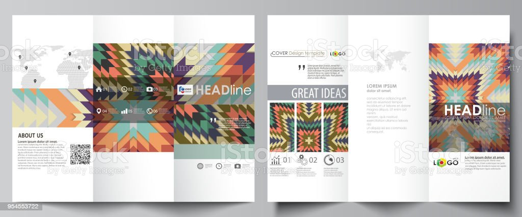 Trifold Brochure Business Templates On Both Sides Abstract