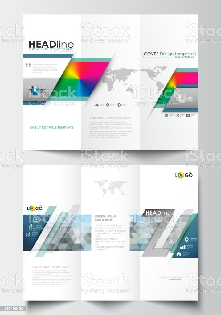 Tri-fold brochure business templates on both sides. Easy editable vector art illustration