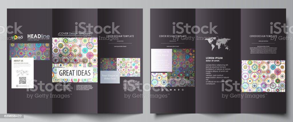 Tri-fold brochure business templates on both sides. Easy editable vector art illustration