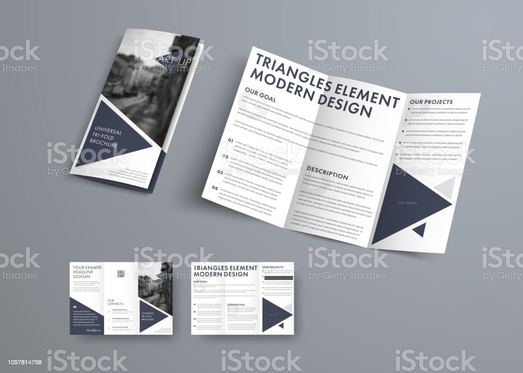 Tri-fold brochure design in modern style with triangular elements and space for photo. royalty-free trifold brochure design in modern style with triangular elements and space for photo stock illustration - download image now
