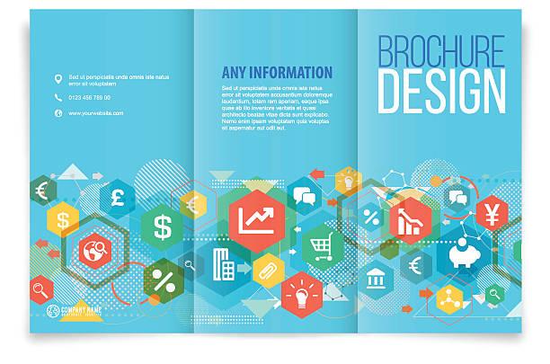 Tri-fold brochure design on business vector art illustration