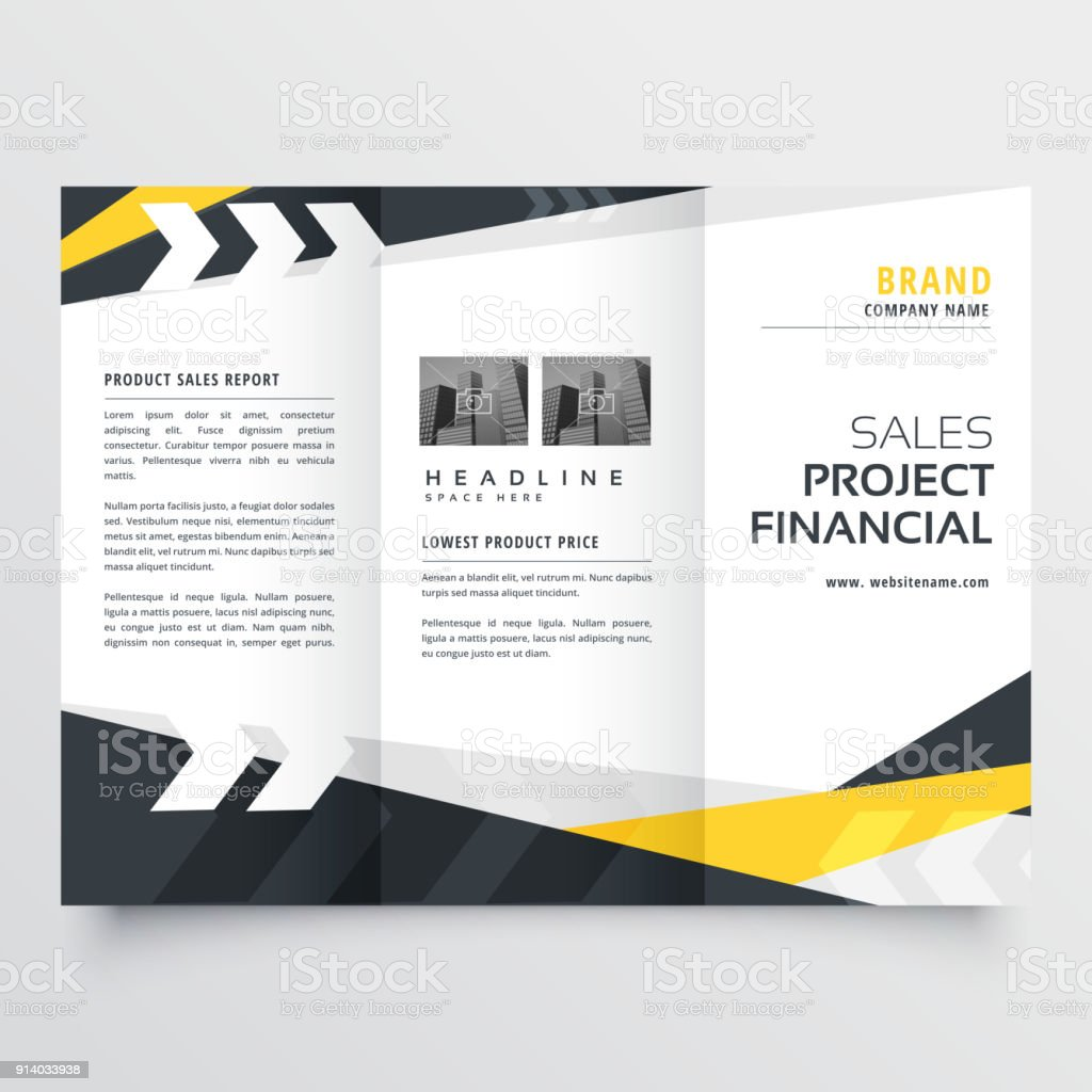 trifold brochure design template in modern geometric style stock