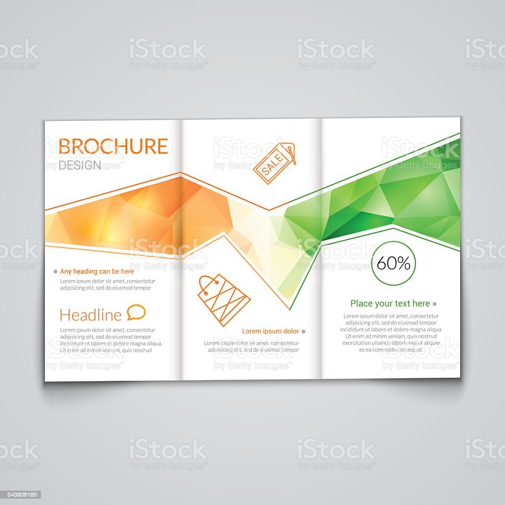 tri fold brochure design template with modern polygonal background on royalty free trifold brochure
