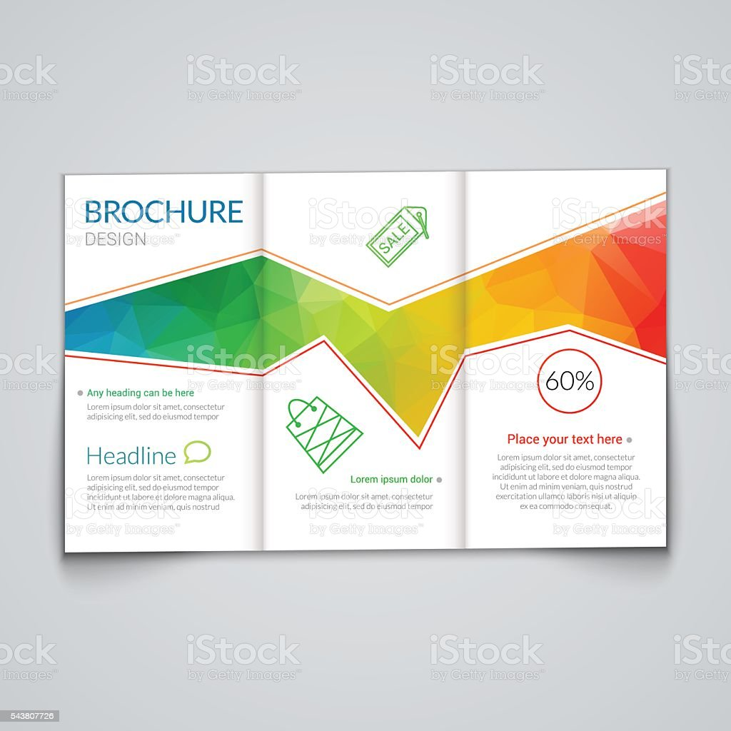 tri fold brochure design template with modern polygonal background on royalty free stock vector