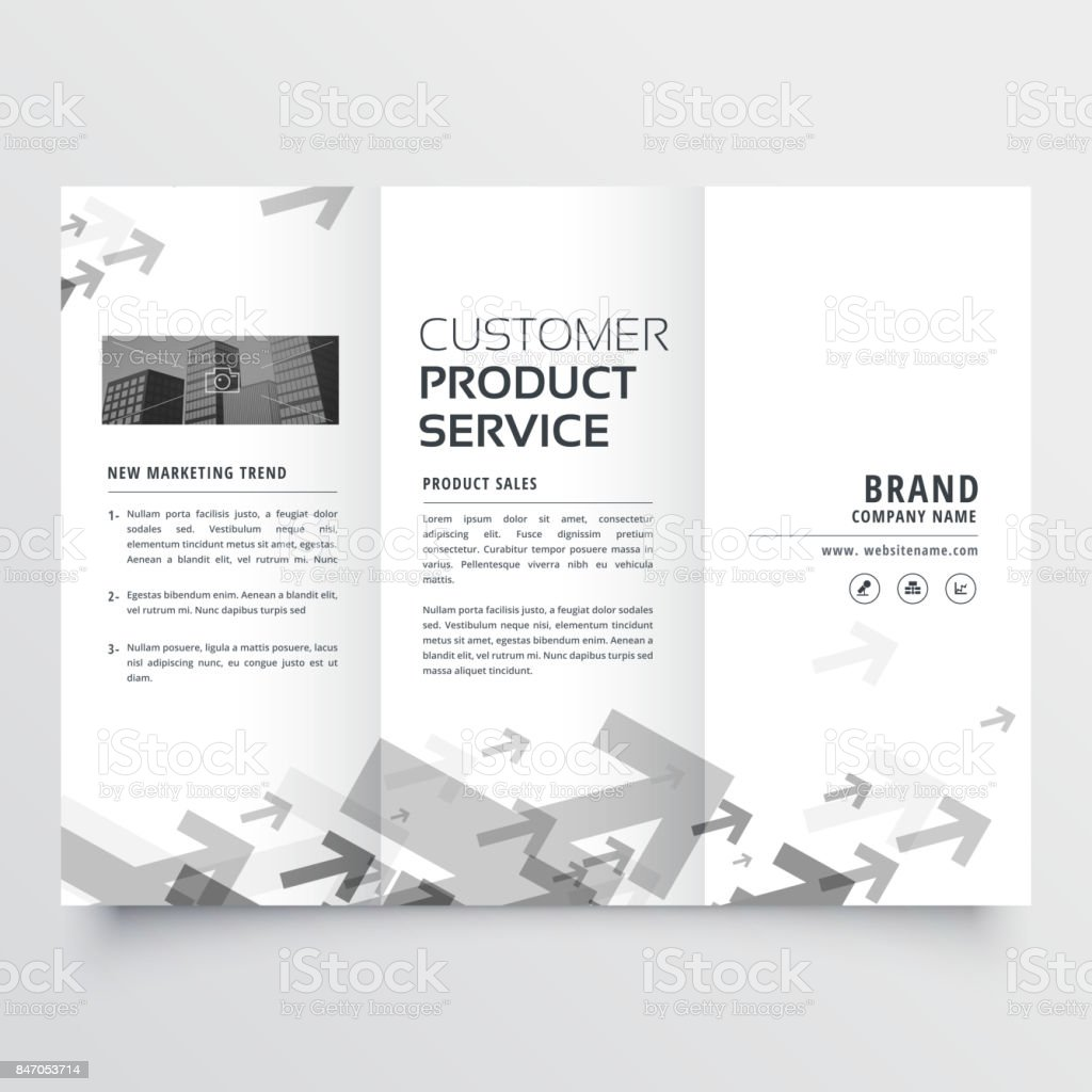 trifold brochure design with arrow shapes vector art illustration