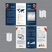 Tri-Fold Brochure Mock-up, Realistic Rendering of Tri-Fold Brochure Background, 3D Illustration. abstract business tri fold Leaflet Flyer vector design set, three fold presentation layout a4 size
