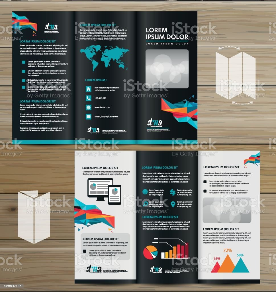 tri fold brochure mock up realistic rendering of tri fold brochure background