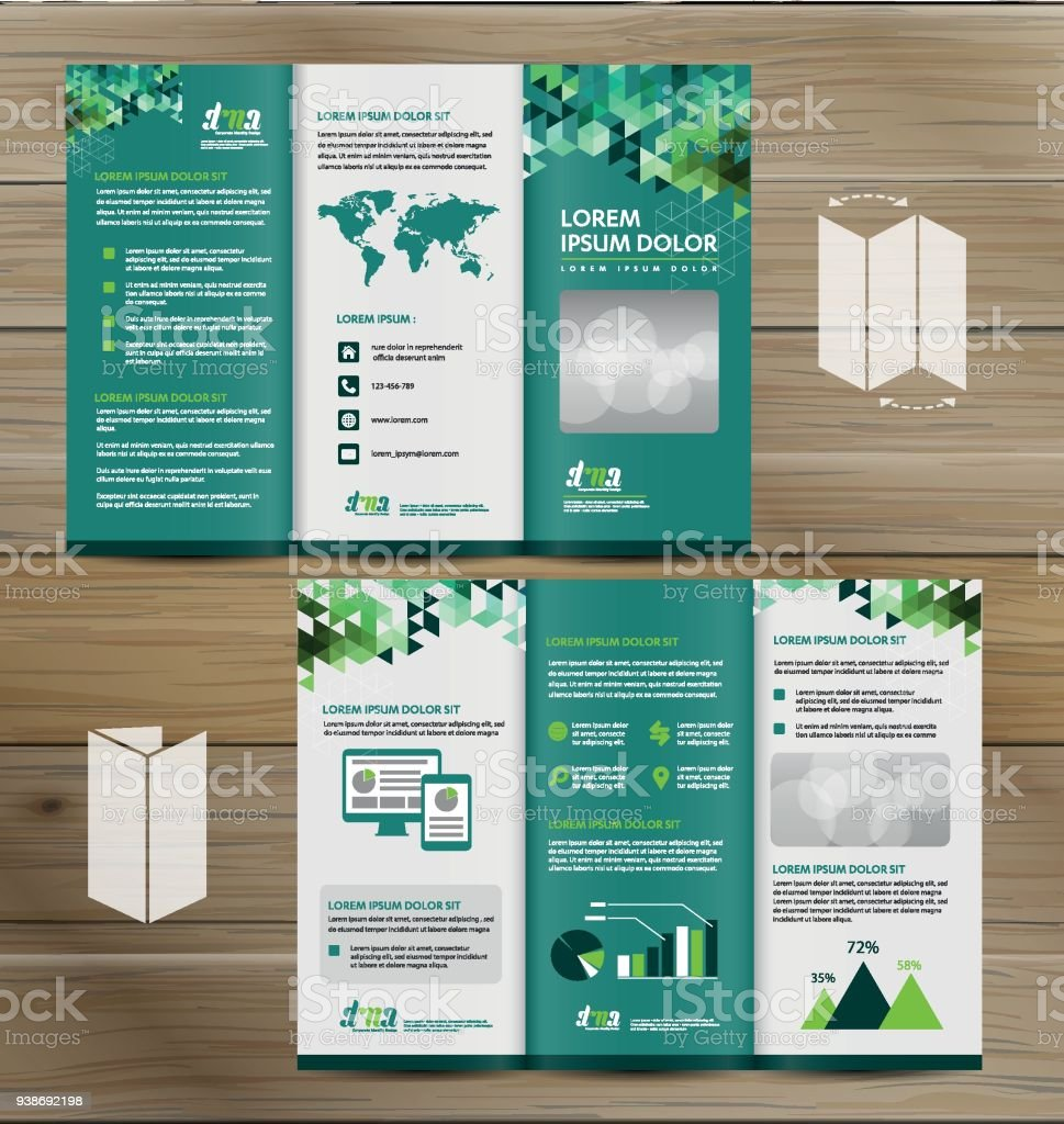 Tri Fold Brochure Mock Up, Realistic Rendering Of Tri Fold Brochure  Background