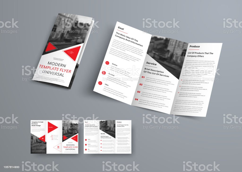 Trifold Brochure Template In Modern Style With Red Triangles And