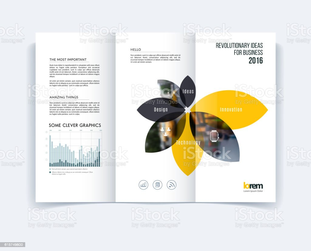 Trifold Brochure Template Layout Cover Design Flyer In A4 Stock  Illustration - Download Image Now