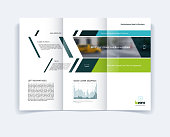 Tri-fold Brochure template layout, cover design, flyer in A4 with banner and diagonals, diagram infographics for engineering and nature concept. Abstract vector design.
