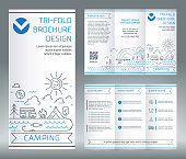 Tri-fold brochure template, on the topic of recreation and tourism.