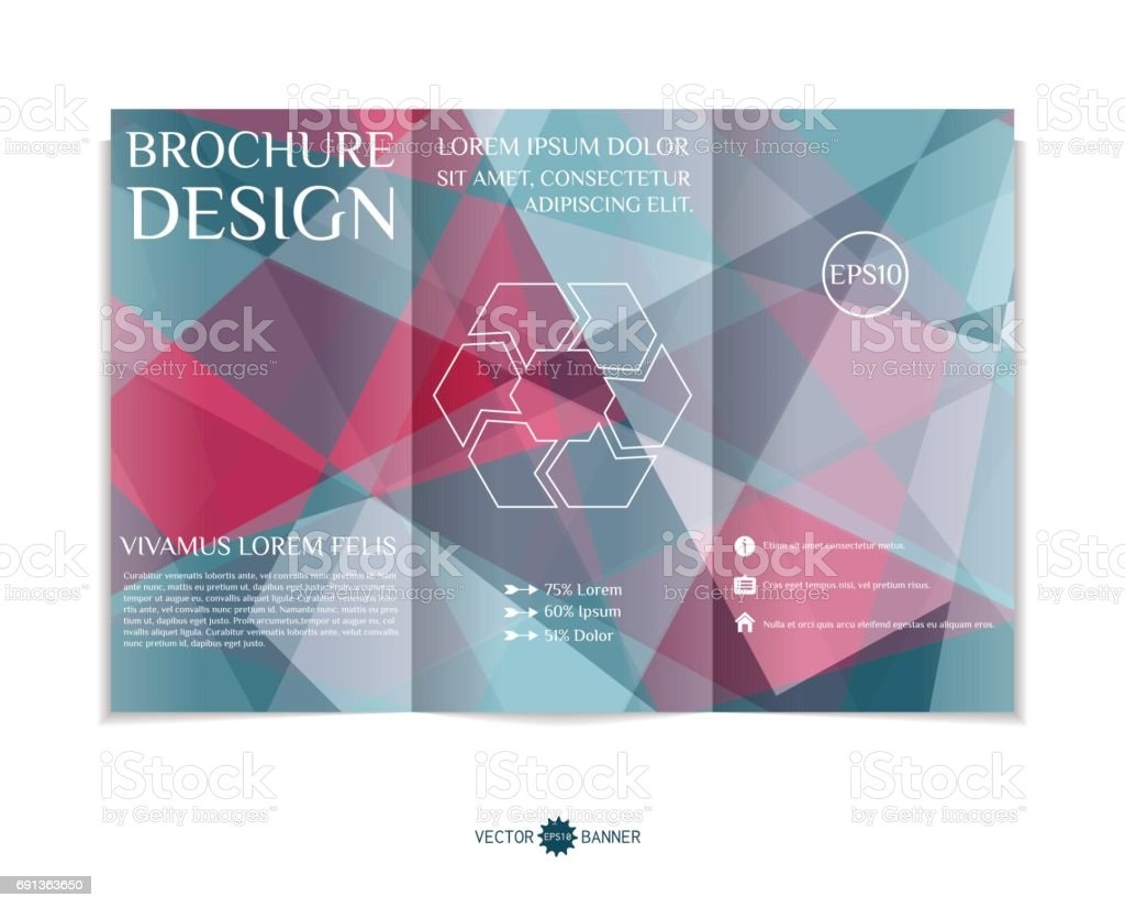 trifold brochure template with modern geometric background threefold