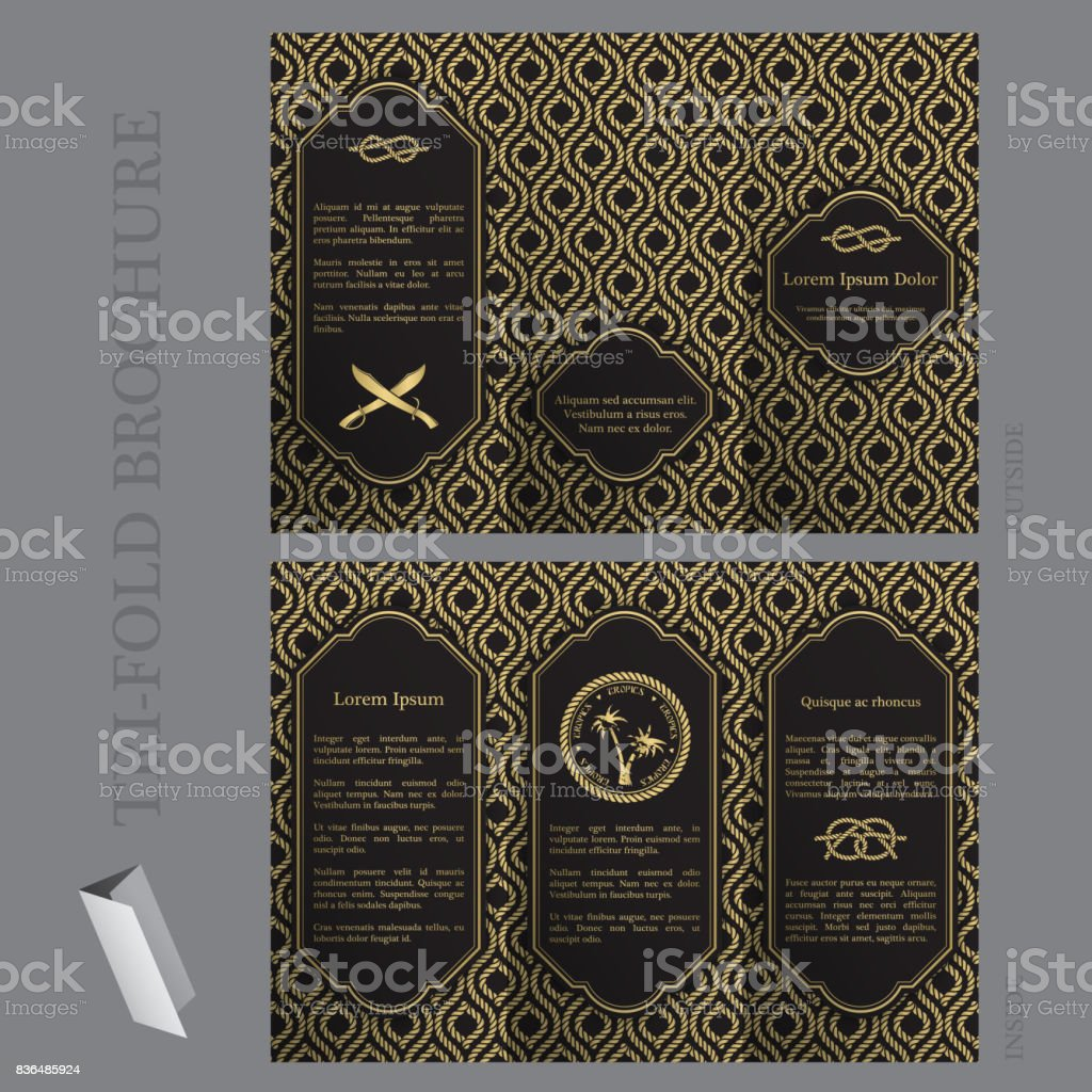 Tri-fold brochure template with nautical elements vector art illustration