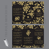 Tri-fold brochure template with roses in gold and black colors