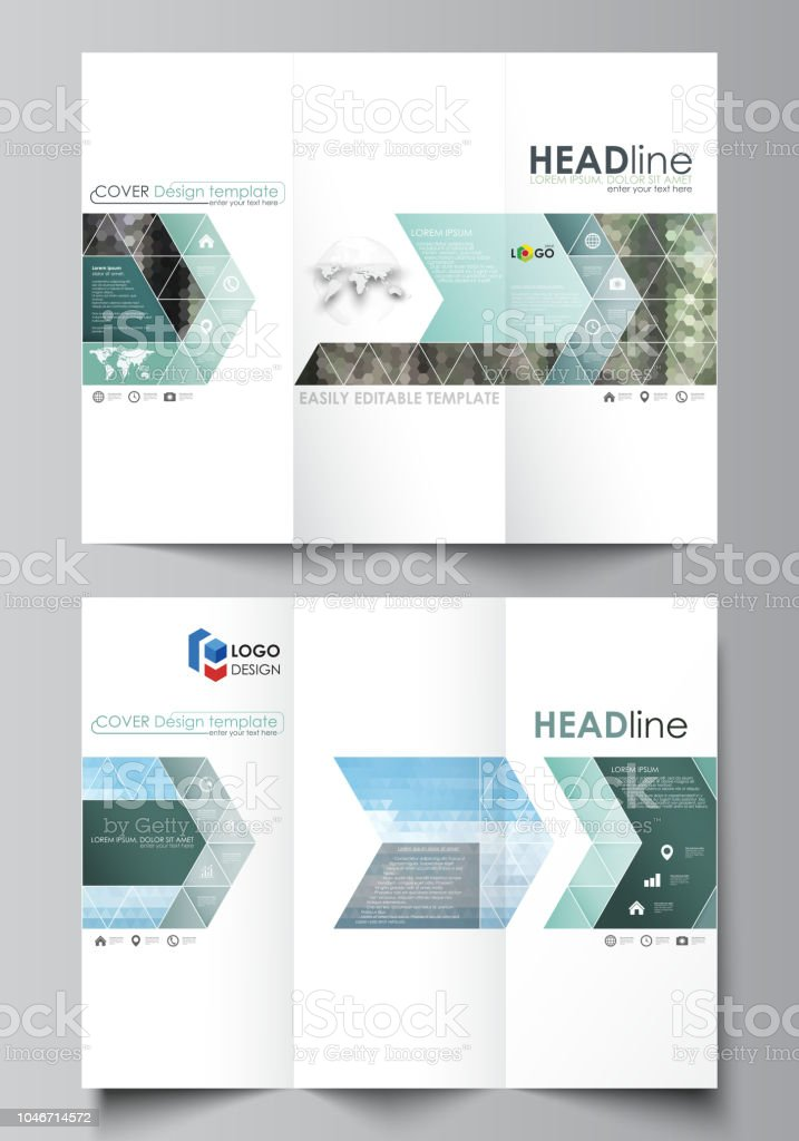 trifold brochure templates on both sides abstract vector layout in