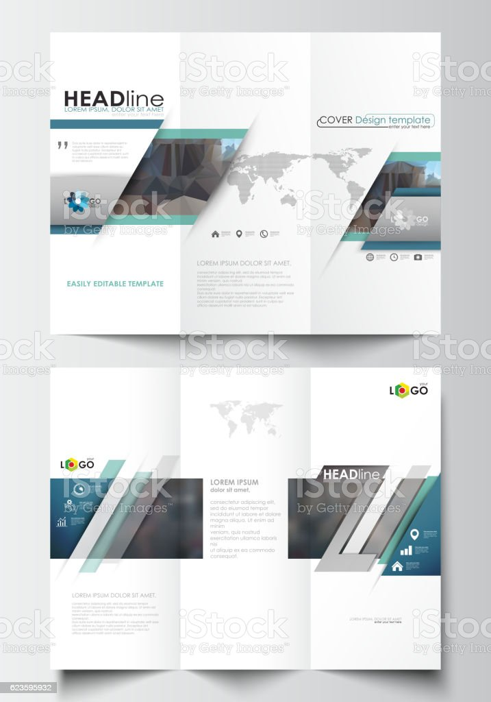 trifold brochure templates on both sides easy editable layout stock