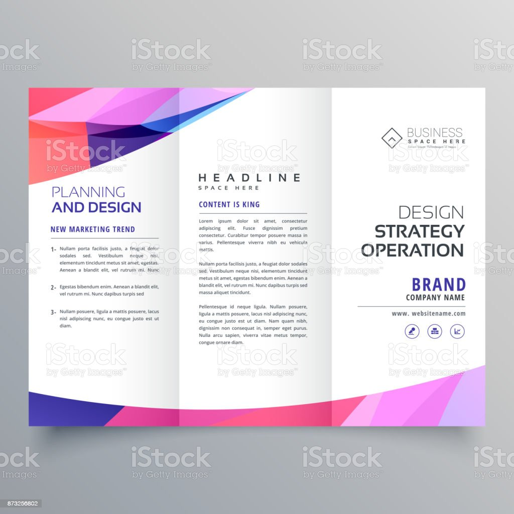 trifold business brochure design template with abstract wave vector art illustration