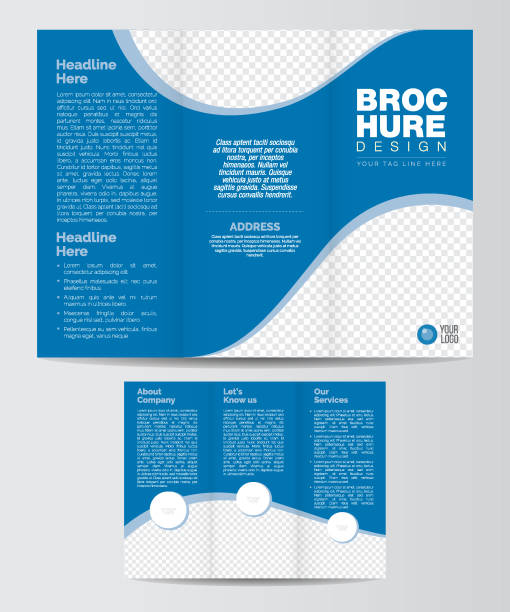 tri-fold business brochure layout template - brochure templates stock illustrations, clip art, cartoons, & icons