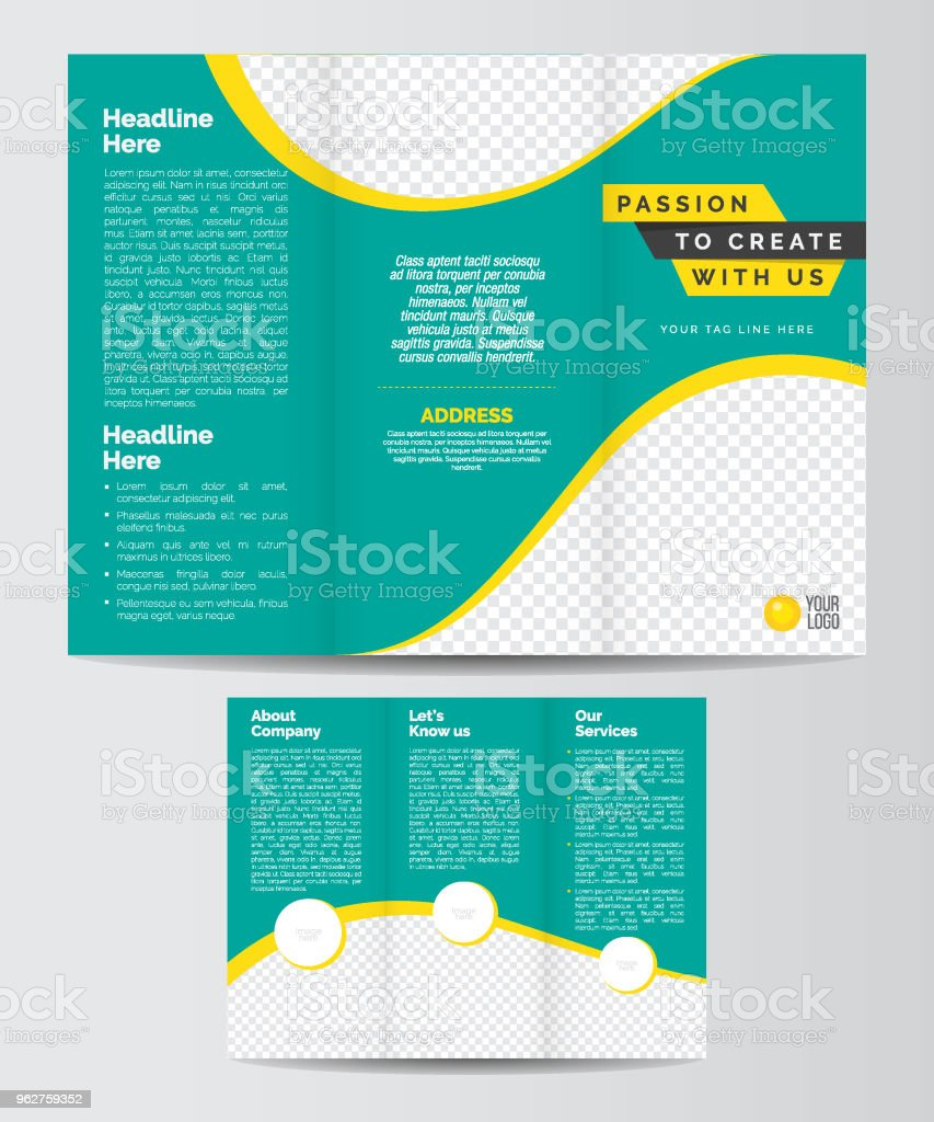trifold business brochure layout template stock vector art more