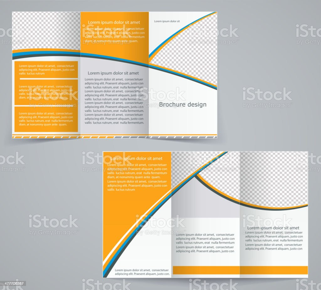 Trifoldbusinessbroschüre Template Vektor Orange Design Flyer Vektor ...