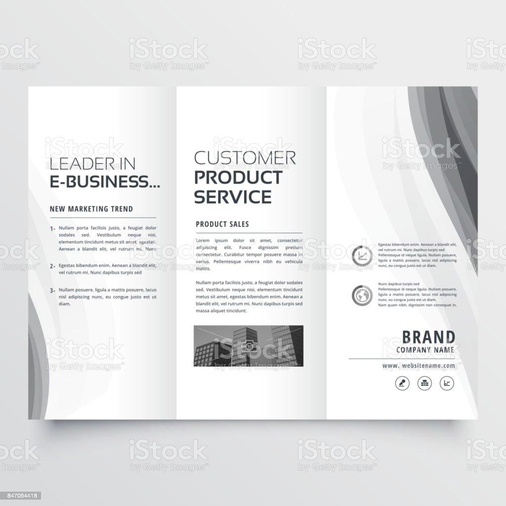 tri-fold business brochure with elegant gray wave vector art illustration