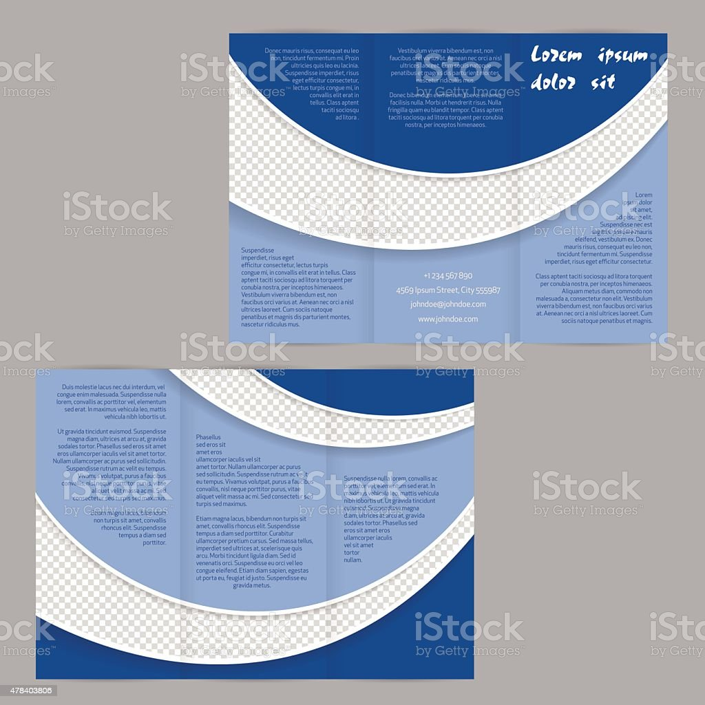 trifold flyer brochure template with blue waves stock vector art