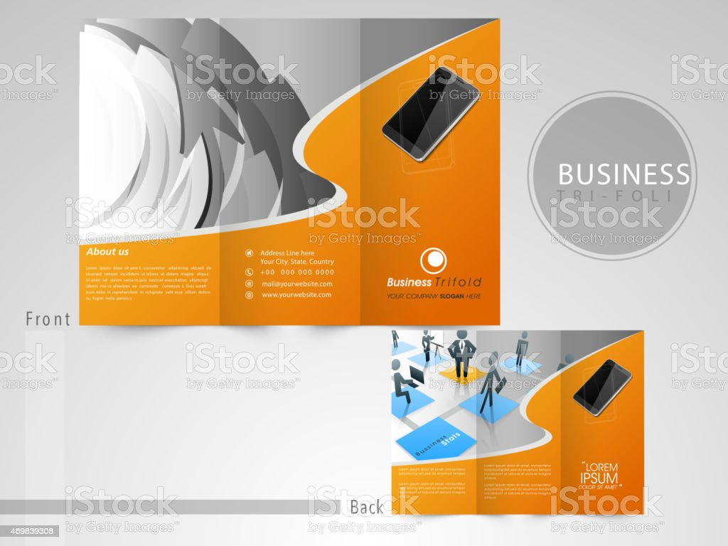 trifold flyer template or brochure for business stock vector art