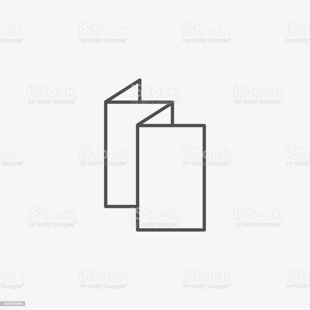 trifold or leaflet vector icon blank white folding paper blank