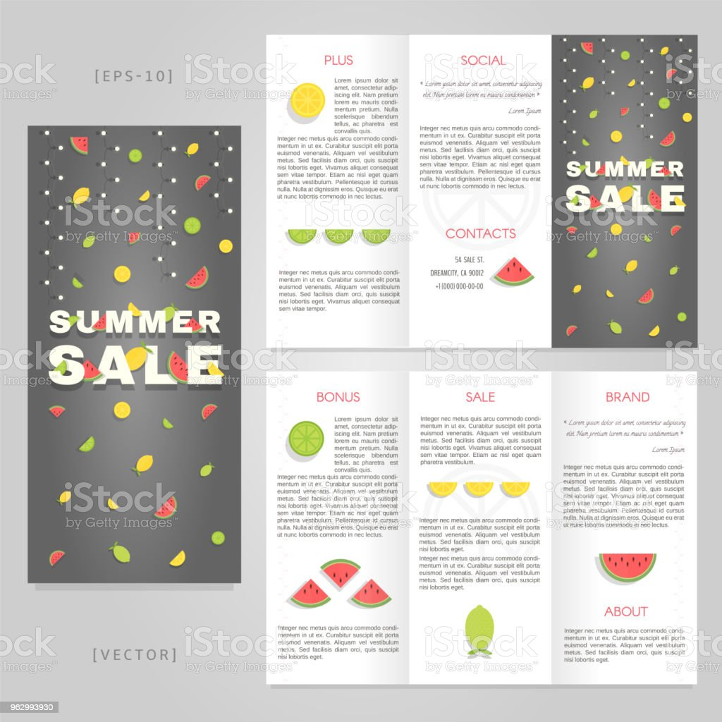 trifold summer sale brochure template good for advertising and