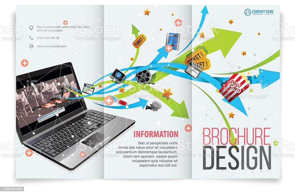 Tri-fold template design on film entertainment vector art illustration