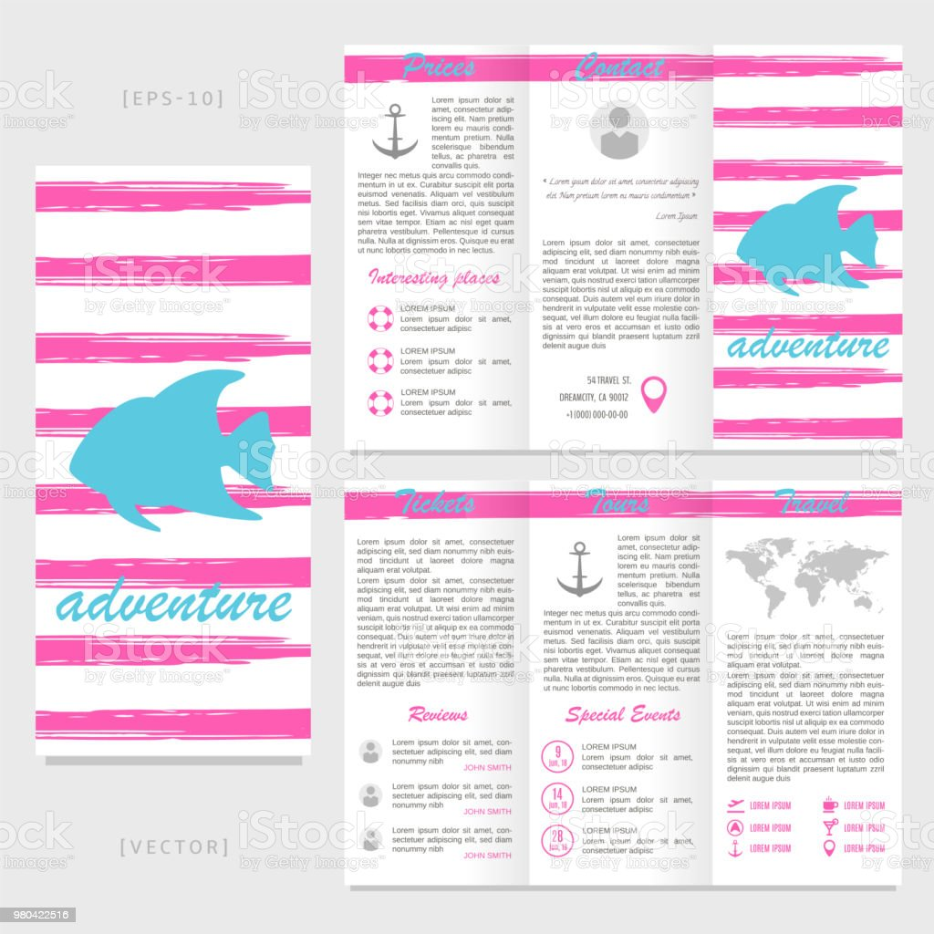 trifold travel brochure template fish on a striped background stock