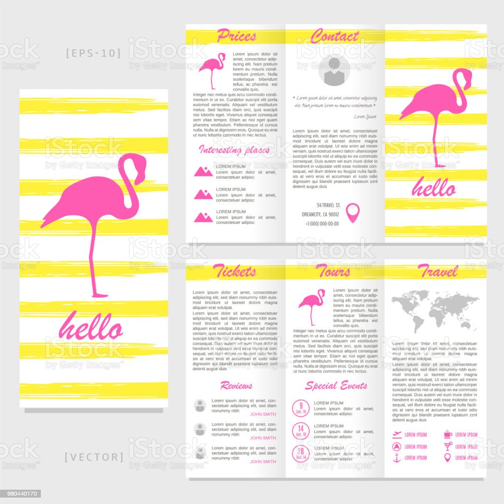 trifold travel brochure template flamingo on a striped background