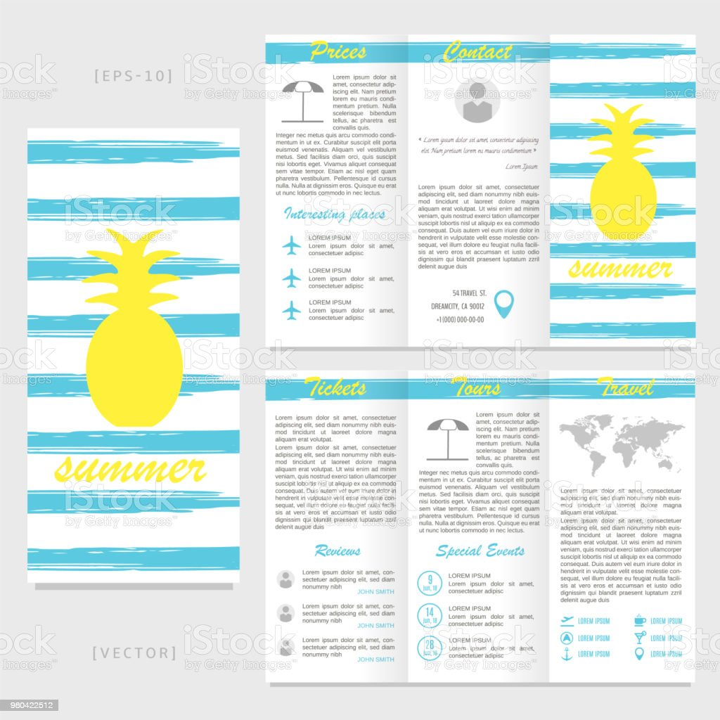 trifold travel brochure template pineapple on a striped background