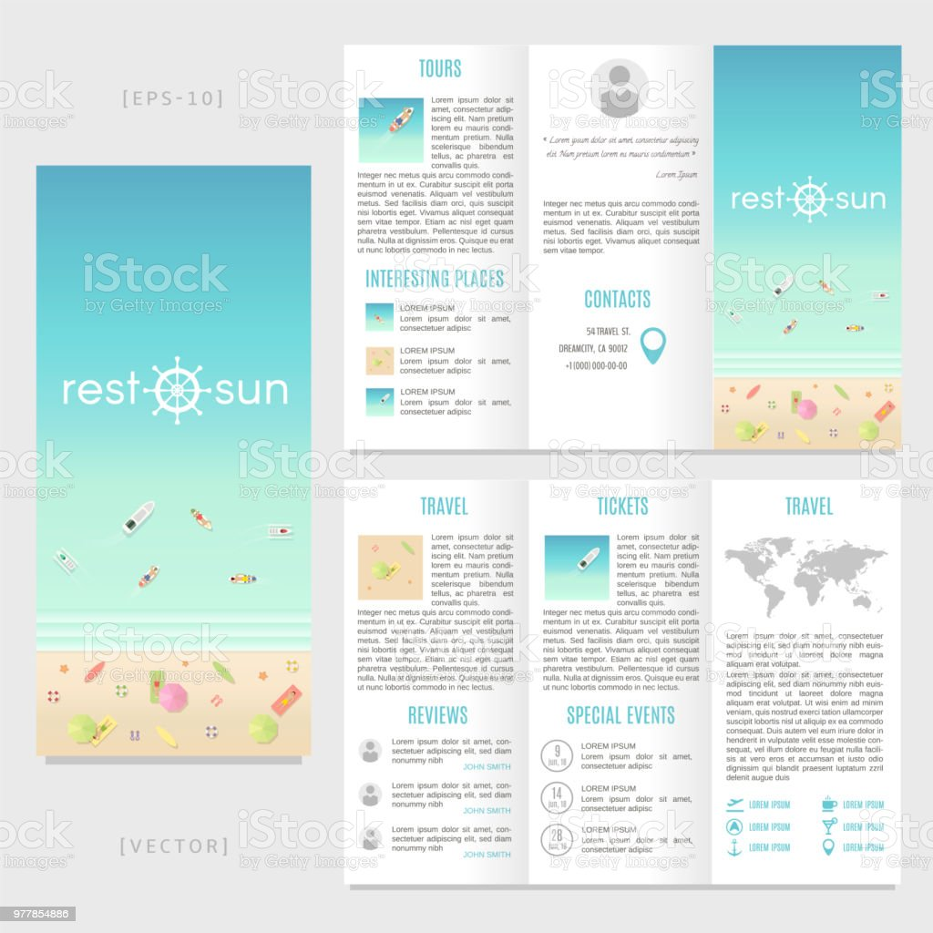 Tourist Brochure Template | Trifold Travel Brochure Template Vector Beach Landscape With People