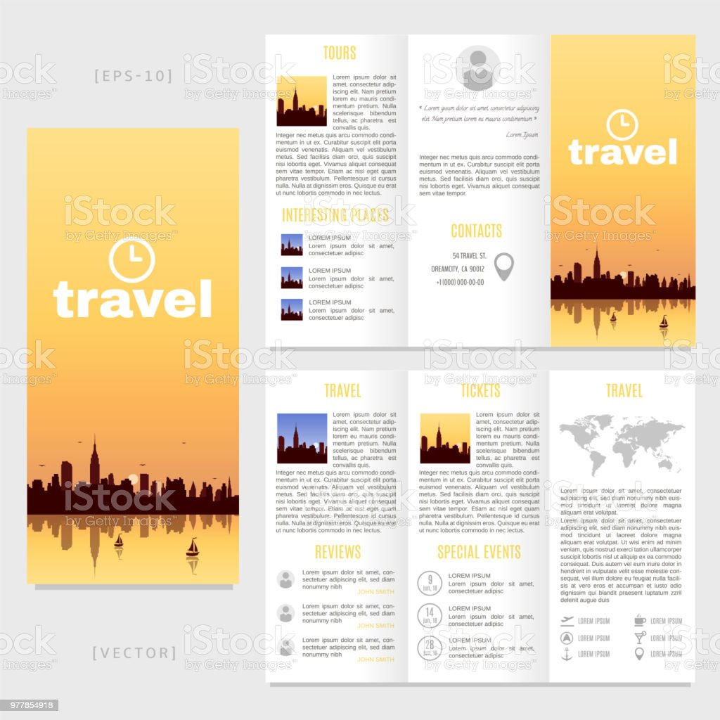 tri fold travel brochure template vector landscape with a view of new york