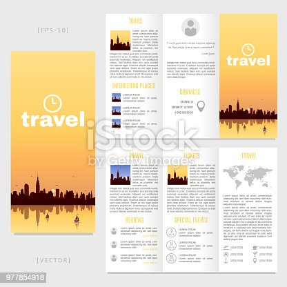 Trifold Travel Brochure Template Vector Landscape With A View Of New