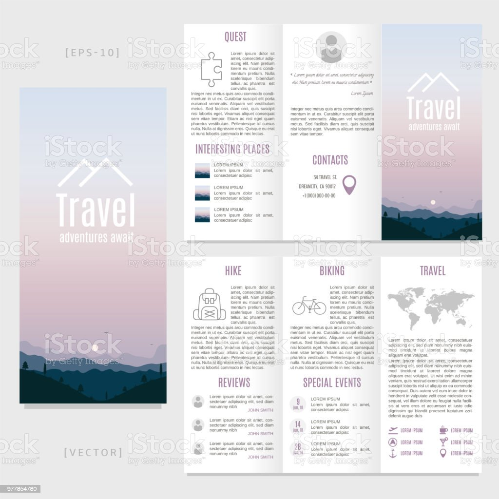 Travel Brochure Template Or Flyer Design Stock Vector Travel