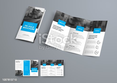 Tri-fold vector brochure template with blue rectangular elements for headers. White design for business and advertising.